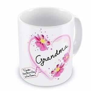 Día de la madre para abuela Corazón Taza de regalo con mensaje personalizado