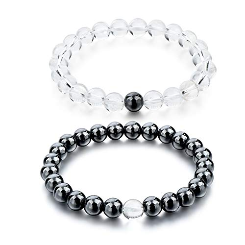 Welcometoo Black and White Natural Stone Distance Bracelets for Women Men Strand Bracelets & Bangles Lovers Gifts Jewelry SBR160101