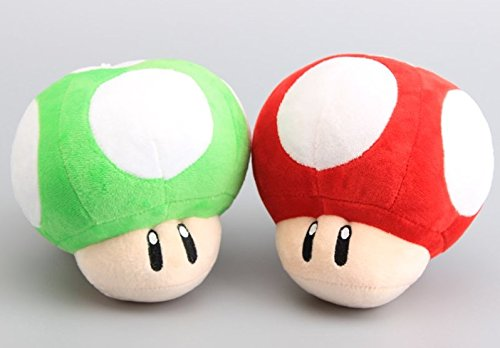 Super Mario Bros Mushroom 6 Inch Toddler Stuffed Plush Kids Toys 2 Pcs/set (Stuffed Mushroom)