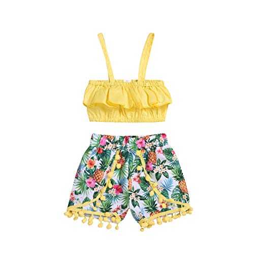 Toddler Baby Girls Strap Outfits Halter Ruffle Tube Crop Top+Tassel Pineapple Shorts Pant Summer Clothes Set (Tassel, 4-5 Years) -