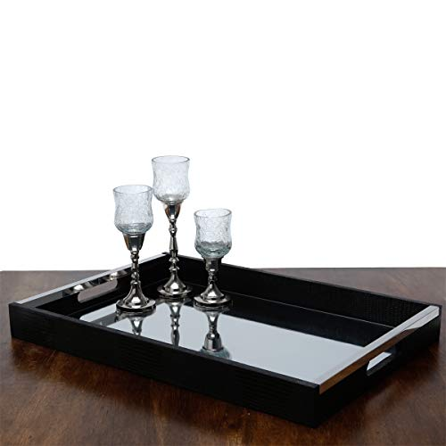 (Black Wood and Leather Serving Tray with Double Handles and Mirror - Party Service, Dining and More (20x14))