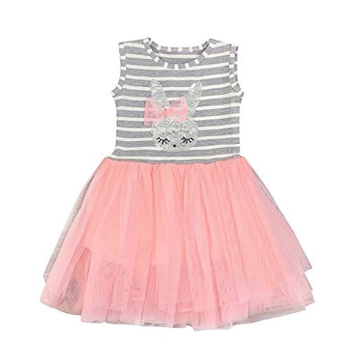 - Girls Princess Belle Dress,Bridesmaid Dresses Cute Rabbit Print Stripe Tutu Skirts (3-4 Years, Pink)