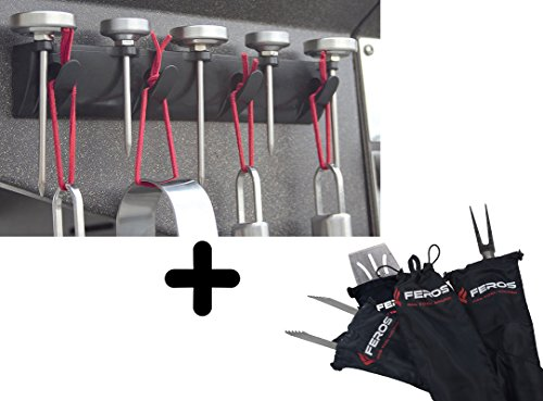 FEROS KIT – (5 items!) Magnetic BBQ Grill Tool Accessory Holder  + 4 Weatherproof Tool Accessory Covers - get your tools our of your kitchen!