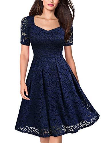 MISSMAY Women's Vintage Floral Lace Short Sleeve V Neck Cocktail Formal Swing Dress, Large, Navy Blue