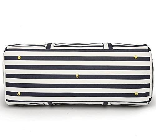 Elenture Weekender Tote Bag Leather Travel Duffel Bag Overnight Carry Bag (Navy Blue/White Stripe) by Elenture (Image #4)