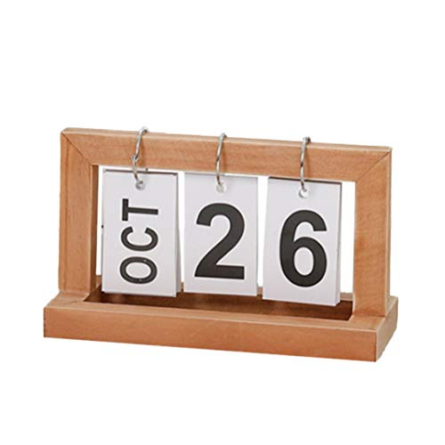 Vosarea Vintage Bloque de Madera Calendario perpetuo Escritorio Escritorio Adornos de Madera para la decoración de la...