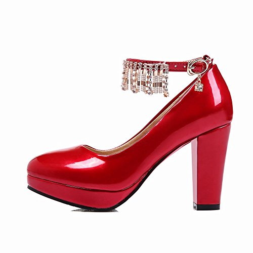 Latasa Femmes Mode Cheville-sangle Chunky Talon Haut Robe Pompes Chaussures Rouge
