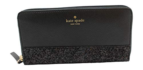 Kate Spade Greta Court Neda Zip Around Continental Wallet Glitter Black ()