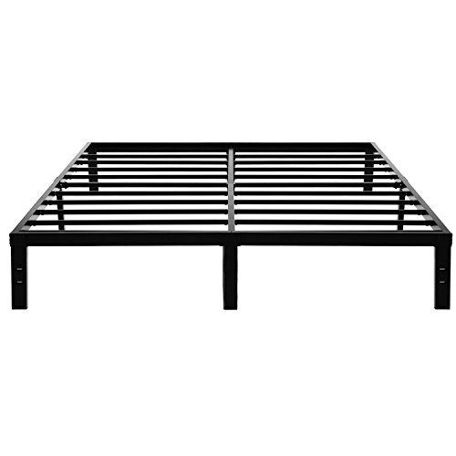 King Queen Platform (45Min 14 Inch Platform Bed Frame/Easy Assembly Mattress Foundation/3000lbs Heavy Duty Steel Slat/Noise Free/No Box Spring Needed, King/Queen (King))