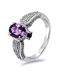 1.23 Ct Oval Purple Amethyst, Topaz, Citrine Promise 925 Sterling Silver Ring For Women By Orchid Jewelry