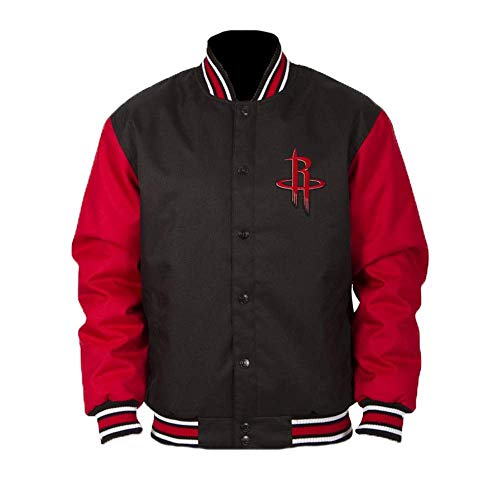 J.H. Design Houston Rockets NBA Jacket Poly-Twill Black Red with Embroidered Logos (Medium)