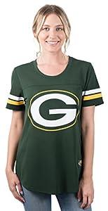 NFL Women's Green Bay Packers Jersey T-Shirt Mesh Varsity Stripe Short Sleeve Shirt, Small, Green