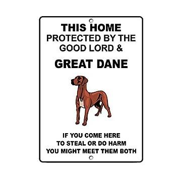 Gran danés perro casa protegido por buen dios y el símbolo de ...