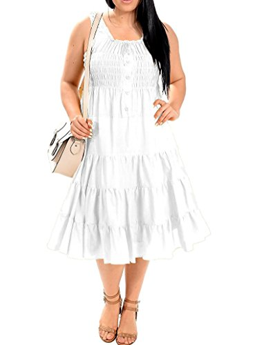 Dress 3 Tier - Red Dot Boutique 8520 - Cotton Smocked Tiers Boho Sun Summer Beach Vacation Dress (3X, White)