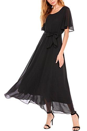 Goldenfox Women O NeckEmpire Waist Dress Maxi Chiffon Long Swing Solid Dress (Black, (Empire Chiffon)