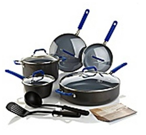 GreenPan Hard Anodized Color Collection 12-piece Gourmet Cookware - BLUE HANDLES - *HSN CUSTOMER PICK*