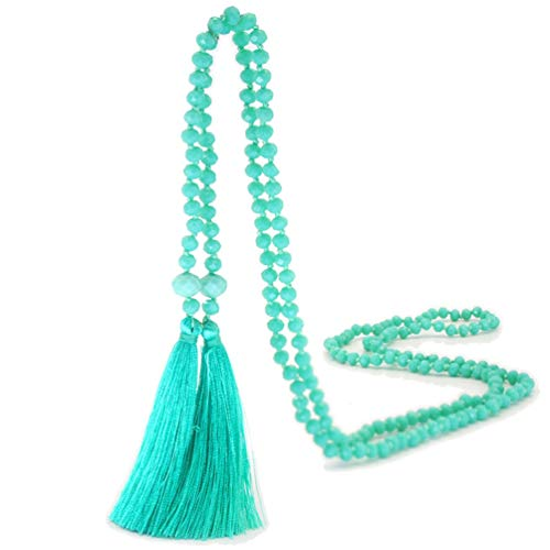 (Bohemian Extra Long Strand Necklace Double Tassel Thread Fringe Crystal Waist Chain Women Girls Green)