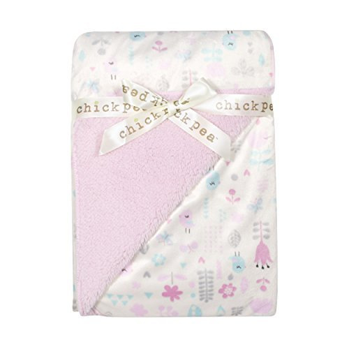 Chick Pea Baby Pink Birds Soft Mink Printed Blanket with Sherpa Backing
