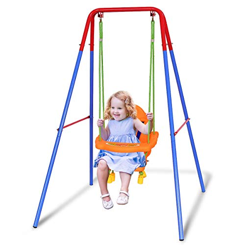Costzon Toddler Swing Set, High Back Seat with Safety Belt, A-Frame Outdoor Swing Chair, Metal Swing Set for Backyard (Orange)