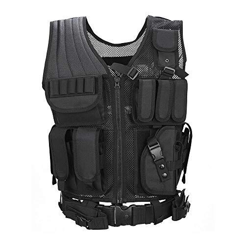 - Sushiyi Adjustable Airsoft Tactical Molle Vest Lightweight Multi-Function Assault Vest Black Outdoor Hunting Combat Vest