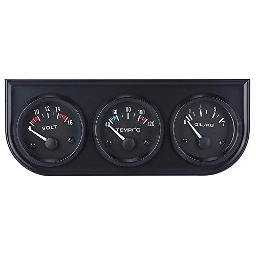 3 Gauge Panel Oil Water - Tonsiki 2 Inch(52mm) Triple Gauge Kit Electrical Voltmeter & Oil/Water Temperature & Mechanical Oil Pressure 3 in1 Car Meter Auto Gauge