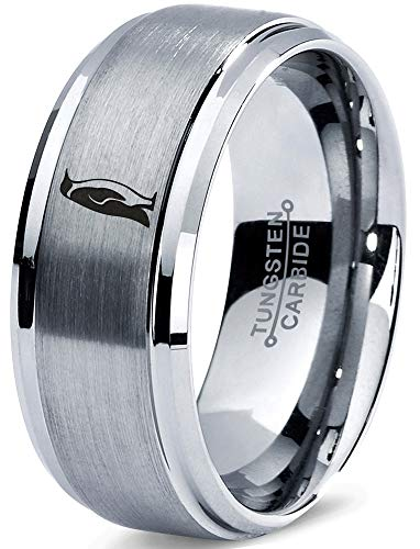 - Zealot Jewelry Tungsten Emperor King Penguin Standing Band Ring 8mm Men Women Comfort Fit Gray Step Bevel Edge Brushed Polished Size 12
