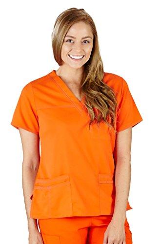 M&M Scrubs Women's Super Soft, Comfort Stretch Junior Fit Contrast Stitch V-Neck Scrub Top XXL Orange / Grey (Contrast Stretch Scrub Top)
