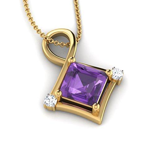 14K Or blanc 0,02ct tw Round-cut-diamond (IJ | SI) et pendentif améthyste