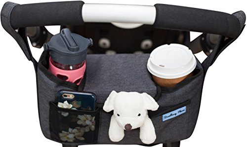 Deluxe Stroller Organizer | Universal Fit, Two Insulated Cup Holders, Lightweight Design | Lifetime 100% Satisfaction Guarantee!