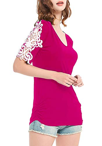 (DREAGAL Casual Hollowed Out Shoulder Three Quarter Lace Crochet Sleeve Shirts Rose Red L)