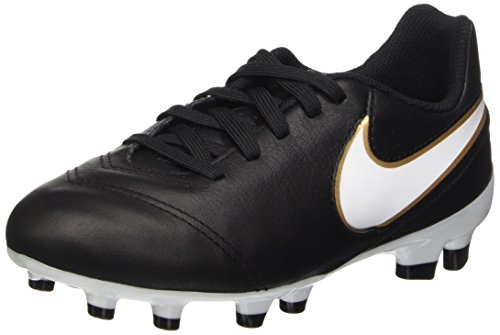 Trainers Junior Football (NIKE Kids Jr Tiempo Legend VI FG Black/White/Metallic Gold Soccer Cleat 4 Kids US)