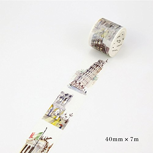 Etbotu Washi Tape, Adhesive Sticker with Architecture Pattern for Different Countries, DIY Craft Tape for Diary Scrapbook Map,7M X 40MM