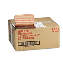 Pop-Open Flat Paper Coin Wrappers, Quarters, $10, 1000 Wrappers/Box, Sold as 1000 Each