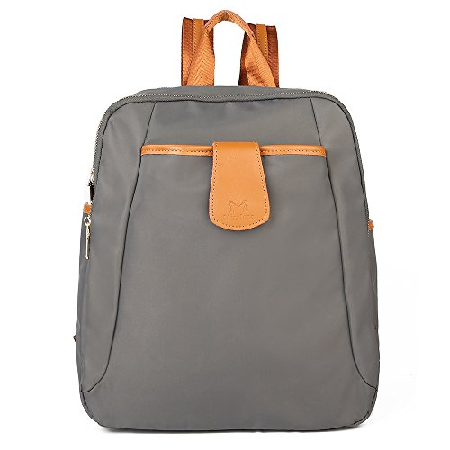 FRFUN Women Backpack Purse Water Resistant Nylon Shoulder Bag Casual Travel Sport Ladies Rucksack School Bag for Girls (Grey) by FRFUN