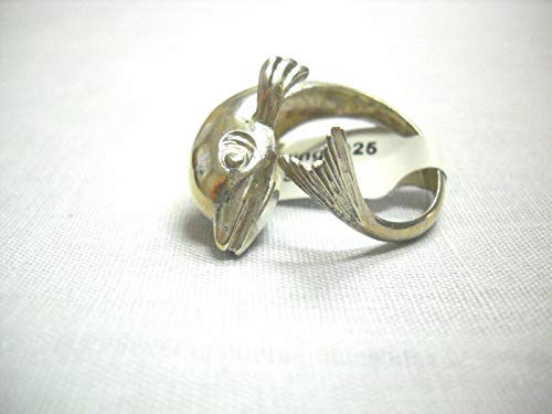 925 Sterling Silver Mariner Dolphin SEA FARING Mammal ADJ Finger Ring US SZ 8