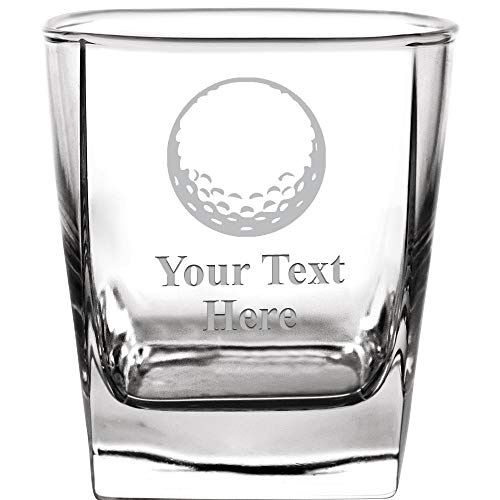 Personalized Drinking Glasses, 10.5 oz Custom Engraved Golf Ball Whiskey Glass Gift, Etched Whiskey Glasses With Customized Text - Etched Golf Awards