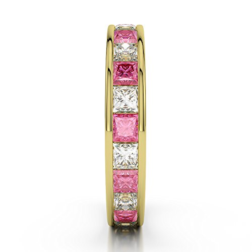 Or jaune 18 carats 1 CT G-H/VS Certifié Princess Cut Tourmaline Rose et diamants éternité Bague Agdr-1134