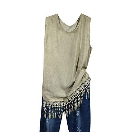 - Corriee Blouse for Women Plus Size Tassel Hem Sleeveless Shirt Womens Summer Vests Khaki