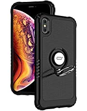 """ICONFLANG Compatible Phone Case for iPhone Xs Max 6.5"""" with Ring Kickstand 360 Degree Rotating Drop Airbag Protection Shock Absorption Case"""