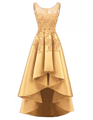 Beading Satin - LOVING HOUSE Women's Beading Lace Wedding Party Dress Hi-lo Satin Prom Dress Evening Gowns Formal P019 Gold 2