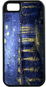 Rikki KnightTM Van Gogh Starry Night Design Black Tough-It Case Cover for iPhone5 & 5s (Double Layer case with Silicone Protection) by icecream design