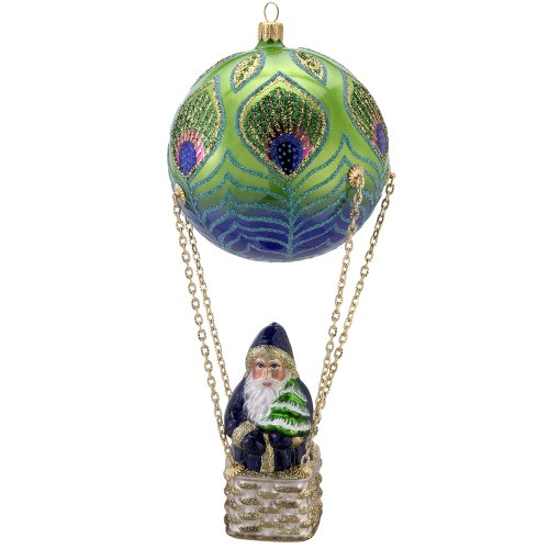 David Strand Kurt Adler Glass Peacock Santa High Rise Ornament, 8.7-Inch