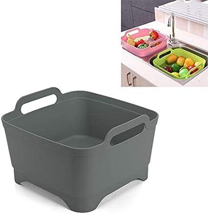 Color : Blue QGT Filters 2 PCS Multifunctional Mobile Sink Kitchen Plastic Vegetable Washing Basket Fruit and Vegetable Storage Drain Basket Pink