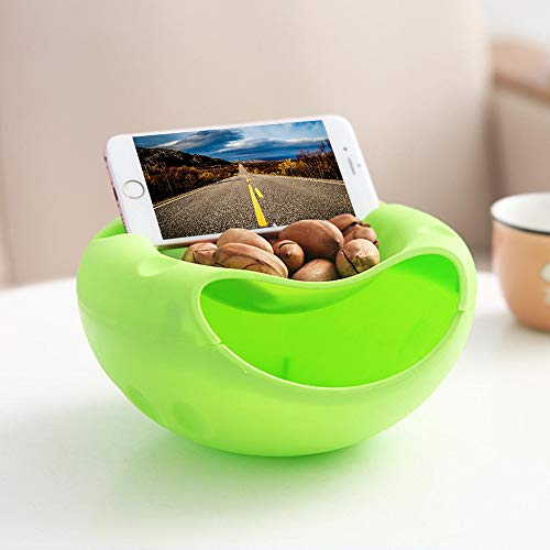 Lotus.flower Stylish Snacks Storage Box - Double Layer Container - Household Plate Dish Organizer - Perfect for Snacks, Fruit, or Pistachio/Sunflower Seeds Storage Box - Bonus Phone Slot (Green) by Lotus.flower (Image #3)