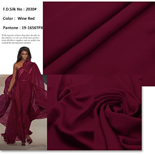 Wine Pure Silk (F.d.silk Wine Red 100% Pure Silk Chiffon Fabric By the Yard, 48 Colors, Wine Red Ch-030)