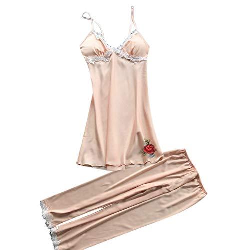 iLOOSKR Womens Sleepwear Cami with Capri Pants Pajama Sets Lace Satin Sling Nightwear (To Nice Curtains Where Buy)