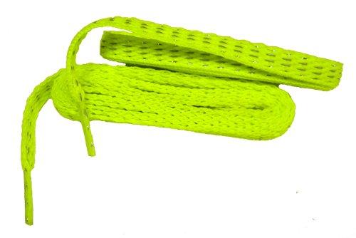 45 Inch 114 Cm Modieuze Reflecterende 8 Mm Plat Geweven Veiligheid Atletische Schoenveters - 2 Paar Pack Hot Neon Geel