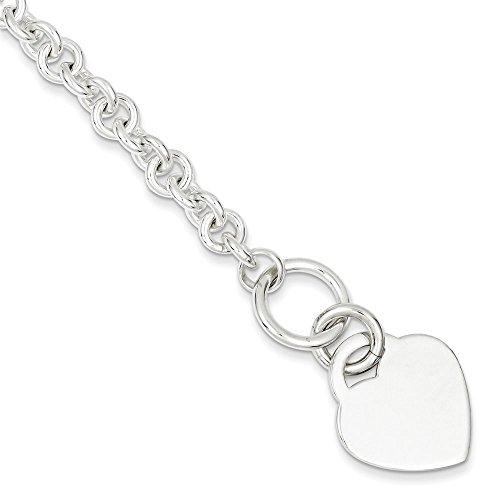 Argent Sterling poli Bracelet avec cœur - 19 cm-JewelryWeb