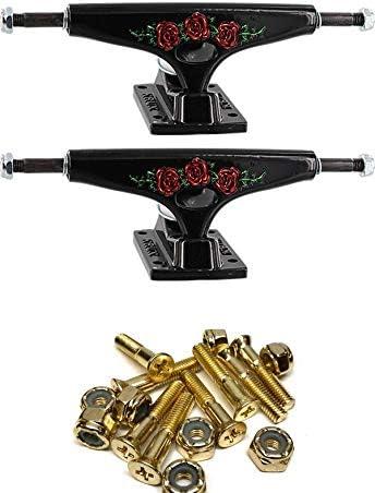 Set of 2 5.625 Hanger 8.25 Axle Krux Trucks Standard DLK Roses White Skateboard Trucks