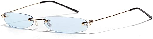 Narrow Rectangle Sunglasses Women Tiny Rimless Sun Glasses For Men Frameless